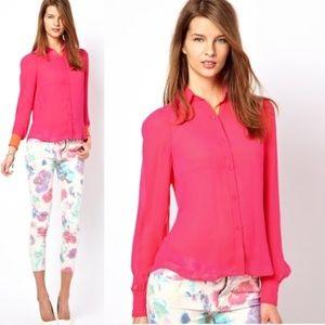 Joe's Jeans Hot Pink Neon Bright Sheer Shirt S